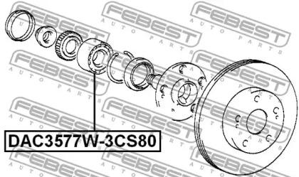 Подшипник ступицы колеса переднего FEBEST DAC3577W-3CS80: купить