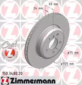 Диск тормозной Coat Z ZIMMERMANN 150.3480.20: заказать