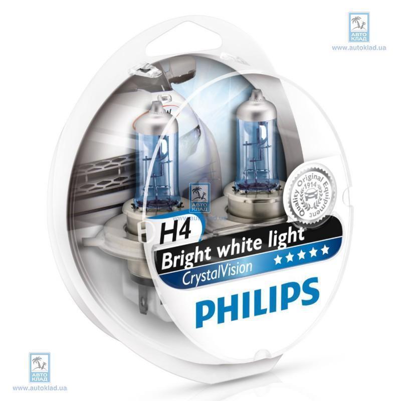 Набор автоламп H4 Crystal Vision 2шт. + W5W 2шт. PHILIPS 12342CVSM