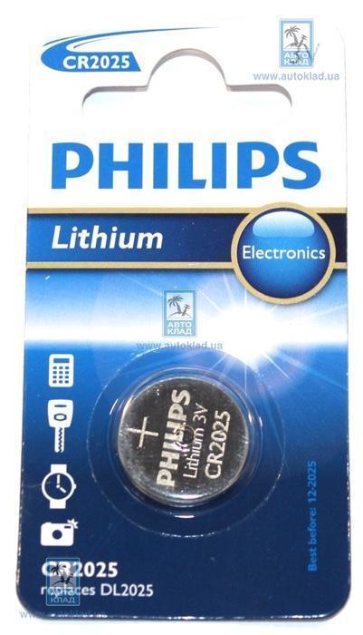 Батарейка литиевая CR2025 PHILIPS CR202501B