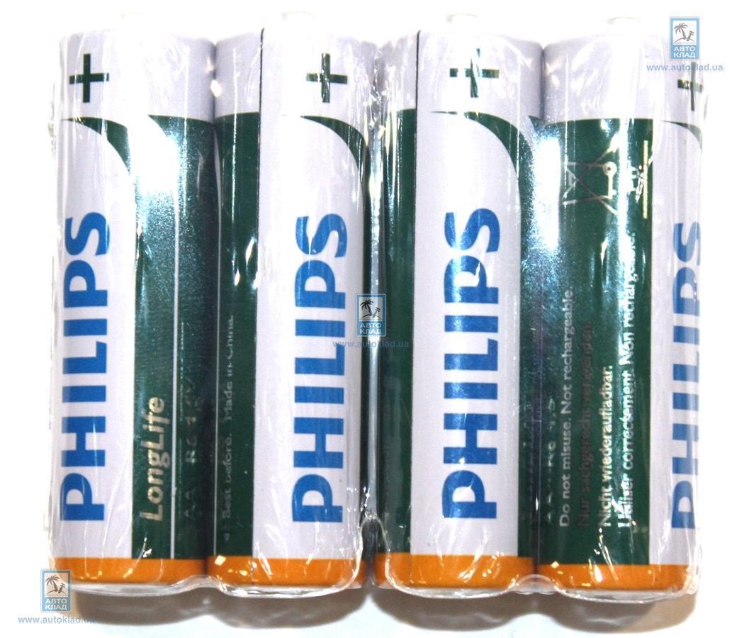 Батарейка солевая AA комплект 4шт. PHILIPS R6L4F10