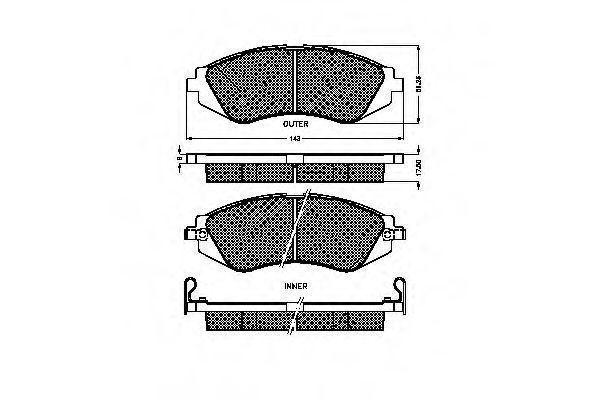 Комплект тормозных колодок, дисковый тормоз SPIDAN 32326