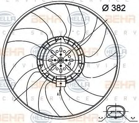 Вентилятор, охлаждение двигателя BEHR 8EW351000471