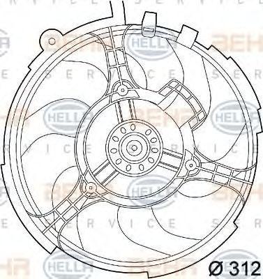 Вентилятор, охлаждение двигателя BEHR 8EW351039531