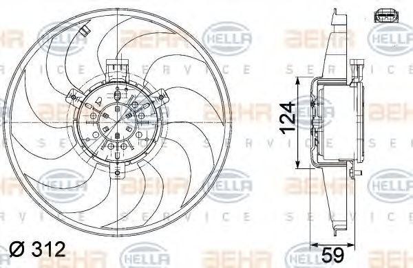 Вентилятор, охлаждение двигателя BEHR 8EW351041261