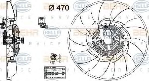 Вентилятор, охлаждение двигателя BEHR 8MV376734461