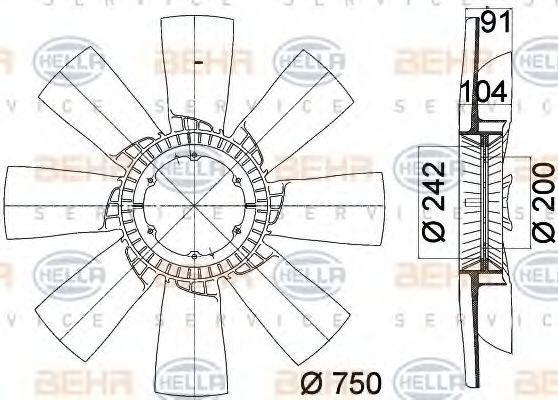 Крыльчатка вентилятора, охлаждение двигателя BEHR 8MV376758231