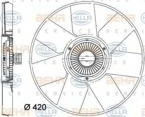 Вентилятор, охлаждение двигателя BEHR 8MV376758261
