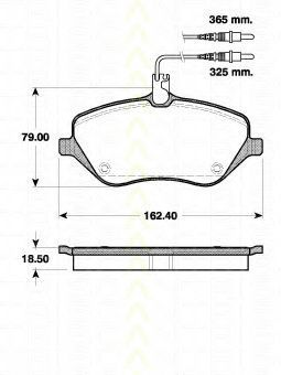 Комплект тормозных колодок, дисковый тормоз TRISCAN 811028037