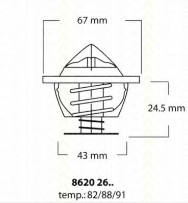 Термостат, охлаждающая жидкость TRISCAN 86202682