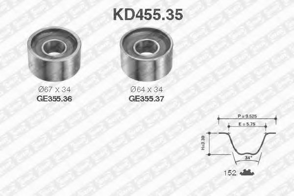 Ремкомплект ремня ГРМ NTN-SNR KD455.35