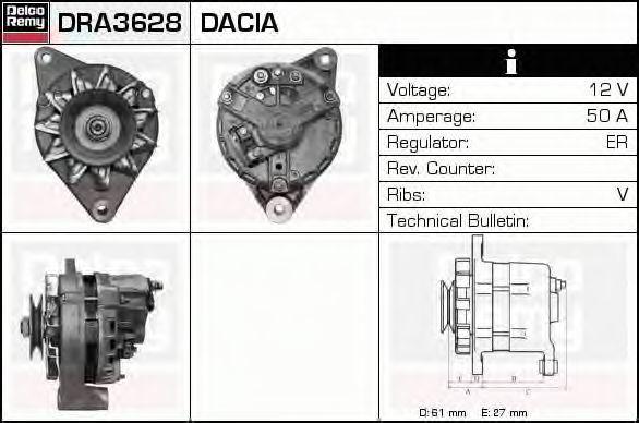 Генератор DELCO REMY DRA3628