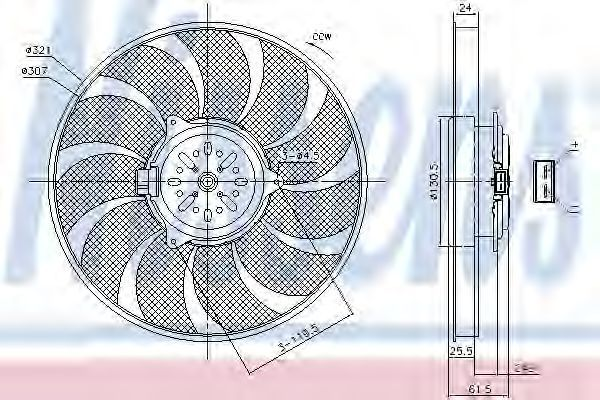 Вентилятор охлаждения двигателя NISSENS 85786