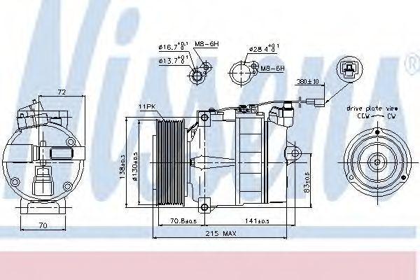 Компрессор, кондиционер NISSENS 89028