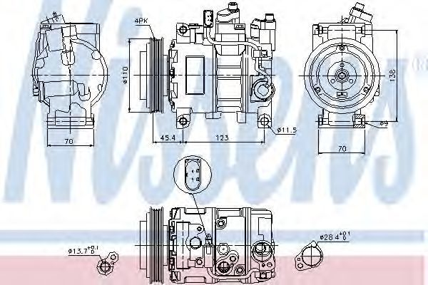 Компрессор кондиционера NISSENS 89049