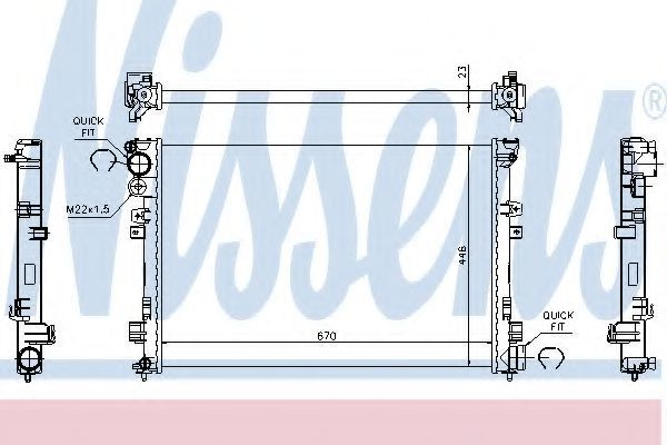 Радиатор охлаждения двигателя NISSENS 61875A