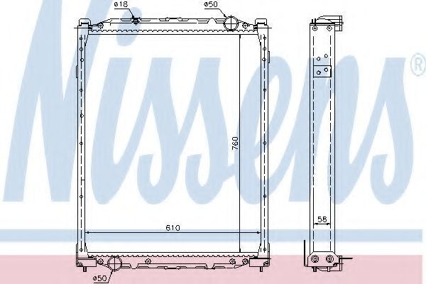 Радиатор, охлаждение двигателя NISSENS 69608A