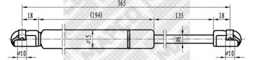 Газовая пружина, крышка багажник MAPCO 20786