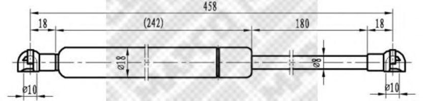 Газовая пружина, крышка багажник MAPCO 91400