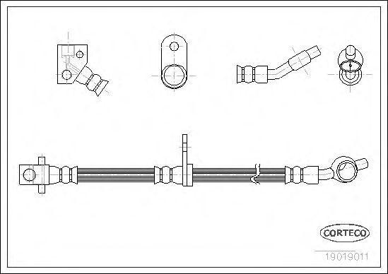 Шланг тормозной задний CORTECO 19019011