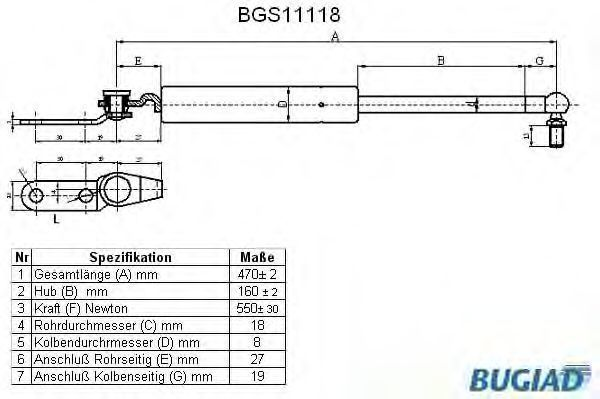 Газовая пружина, крышка багажник BUGIAD BGS11118
