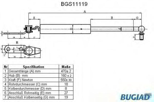 Газовая пружина, крышка багажник BUGIAD BGS11119