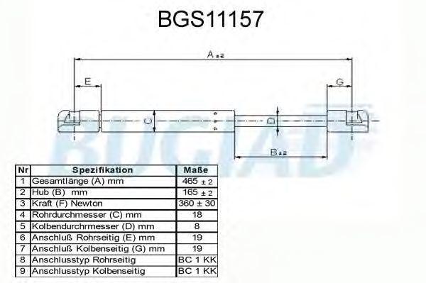 Газовая пружина, крышка багажник BUGIAD BGS11157