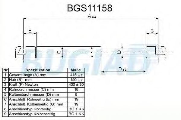 Газовая пружина, крышка багажник BUGIAD BGS11158