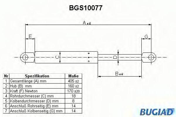 Газовая пружина, крышка багажник BUGIAD BGS10077