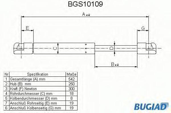 Газовая пружина, крышка багажник BUGIAD BGS10109