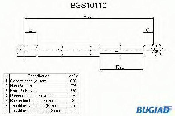 Газовая пружина, крышка багажник BUGIAD BGS10110