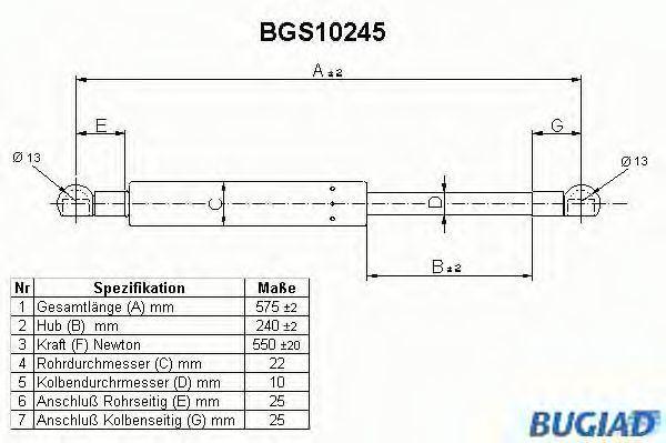 Газовая пружина, крышка багажник BUGIAD BGS10245