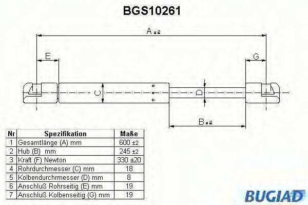 Газовая пружина, крышка багажник BUGIAD BGS10261