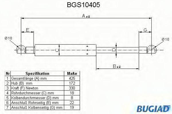 Газовая пружина, крышка багажник BUGIAD BGS10405