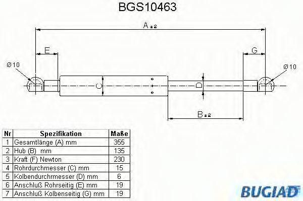Газовая пружина, крышка багажник BUGIAD BGS10463