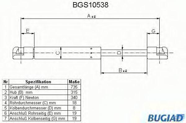 Газовая пружина, крышка багажник BUGIAD BGS10538