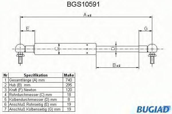 Газовая пружина, крышка багажник BUGIAD BGS10591
