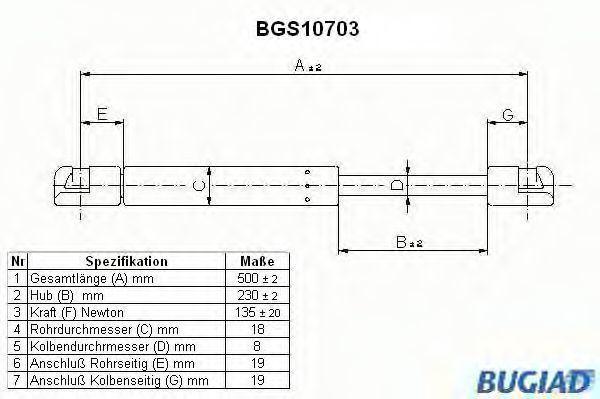 Газовая пружина, кронштейн запасного колеса BUGIAD BGS10703