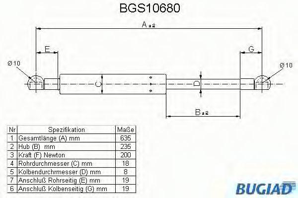 Газовая пружина, крышка багажник BUGIAD BGS10680