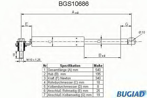 Газовая пружина, крышка багажник BUGIAD BGS10686