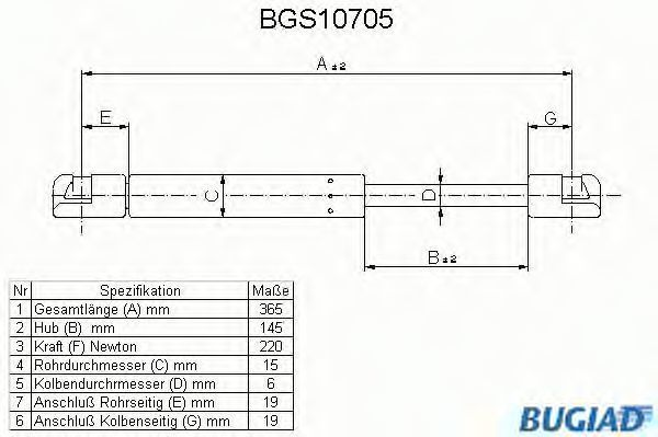 Газовая пружина, крышка багажник BUGIAD BGS10705