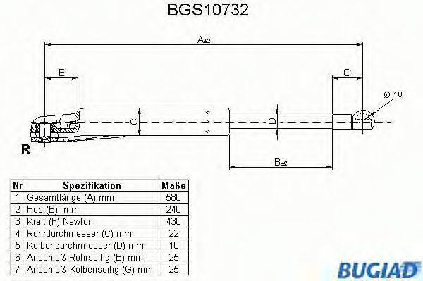 Газовая пружина, крышка багажник BUGIAD BGS10732
