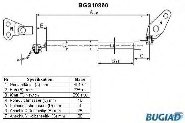 Газовая пружина, крышка багажник BUGIAD BGS10860