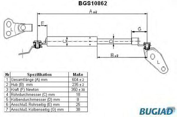 Газовая пружина, крышка багажник BUGIAD BGS10861