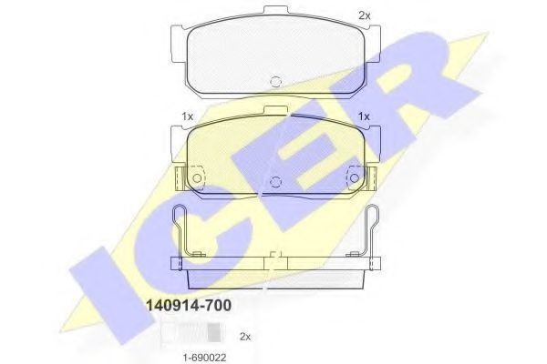 Колодки тормозные ICER 140914700