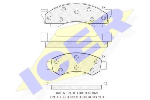 Комплект тормозных колодок, дисковый тормоз ICER 141175