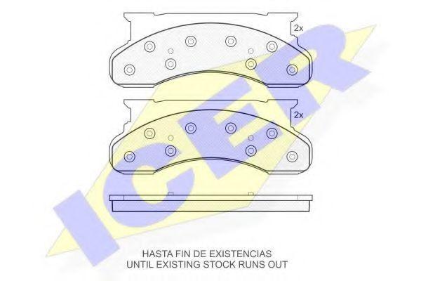 Комплект тормозных колодок, дисковый тормоз ICER 141176