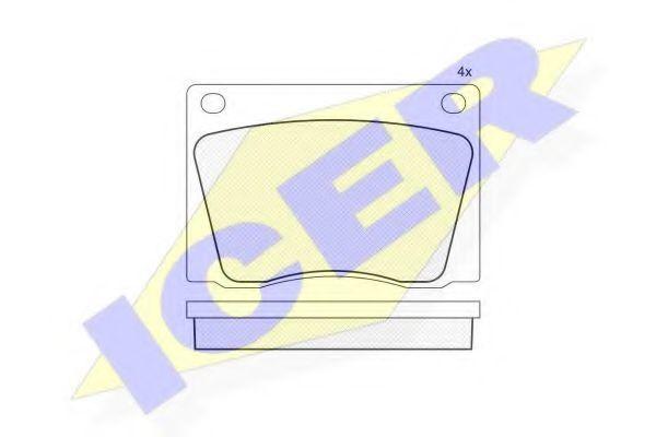 Комплект тормозных колодок, дисковый тормоз ICER 180009
