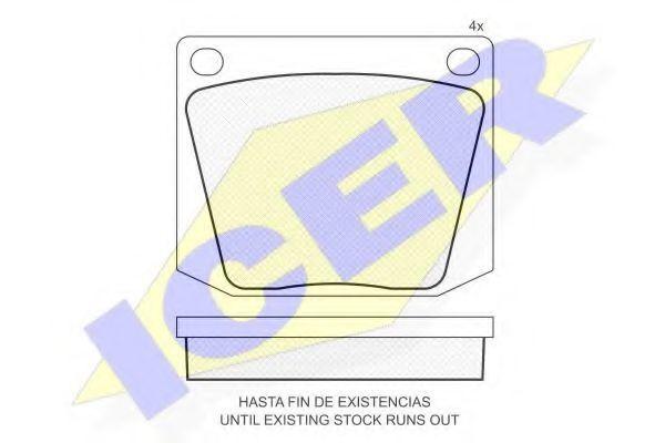 Комплект тормозных колодок, дисковый тормоз ICER 180010