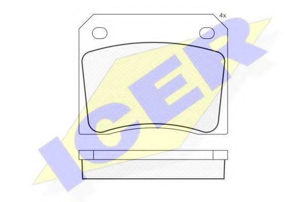 Комплект тормозных колодок, дисковый тормоз ICER 180036